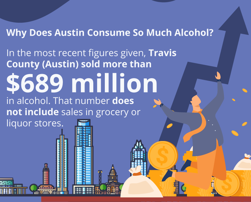 Why does Austin consume so much alcohol?